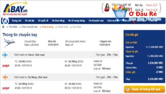 Giá vé tại Abay.vn cao hơn giá đặt trực tiếp