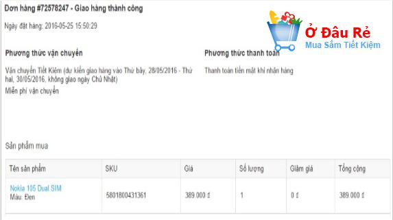Mua điện thoại ở Tiki.vn ngày 25/5