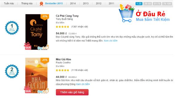 Danh mục sách bán chạy trên Tiki