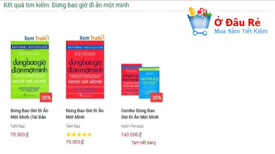 so sánh giá giữa các nhà sách