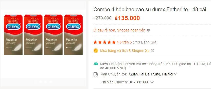 Bao cao su hàng nhái trên Shopee giá chỉ bằng 30% hàng chính hãng