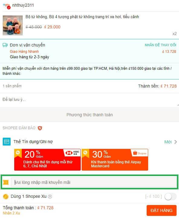 Nhập mã giảm giá Shopee khi đặt hàng