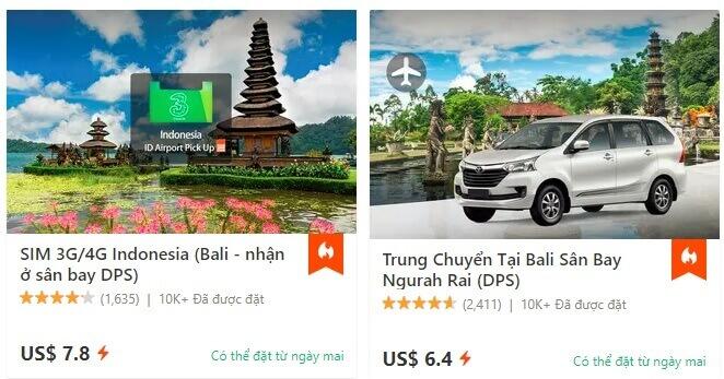 Dịch vụ Taxi sân bay và mua Sim giá rẻ tại Bali